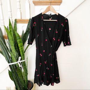 Rails red Cherry Print Wrap Mini Dress Black sz M